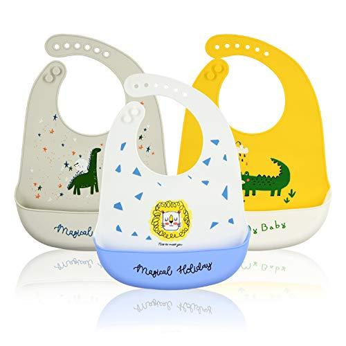 Bluesaly Silikon Lätzchen Baby,3 Stück Wasserdichte Verstellbar Maschinenwaschbare Lätzchen mit Auffangschale,Babylätzchen BPA Frei,Unisex Babygeschenke für Eltern,Grau Gelb Weiß