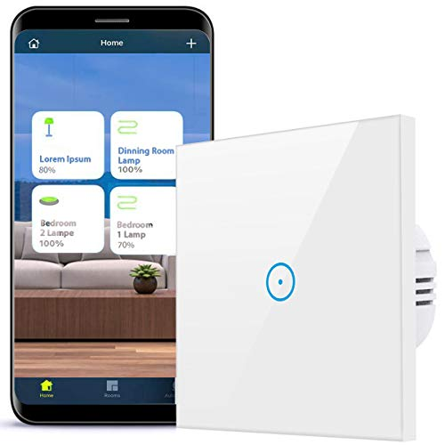 Alexa Smart Lichtschalter, 1-weg Wlan 2.4GHz Schalter, kompatibel mit Alexa,Google Home und IFTTT, Glas Touchscreen mit App Smart Life,Kein Hub erforderlich (Weiß, N Wire Needed)