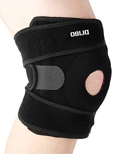 OBLIQ Hinged Knee Braces for Men/Women Non-Slip Silicone Gel for Running, Sports - One Size Fits All (1)