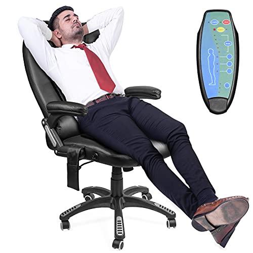 Ergonomic Massage Office Chair-High Back Fabric Heating Vibration Massage Executive Chair, Height Adjustable Reclining Swivel Computer Desk Chair Lumbar Support Armrest (Black)
