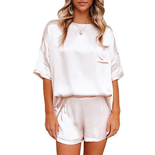 Whitzard Pijama de dos piezas para mujer, de satén, elegante y hermoso, de un solo color, corto, holgado, con pantalones Color blanco perla. S