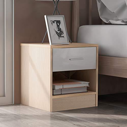TITA-DONG Mesita de noche con cajones, 1 cajón y 1 estante con asas de metal y corredores, único plano fijo blanco y roble muebles de dormitorio