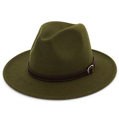 Lisianthus Men & Women Fedora Hat - Belt Buckle Wide Brim Panama Hat Olive 56-58cm