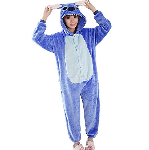 Queque Shine Blu Stitch Pigiama Unisex Adulto Cosplay Halloween Costume Animale Pigiama (Blu, M)