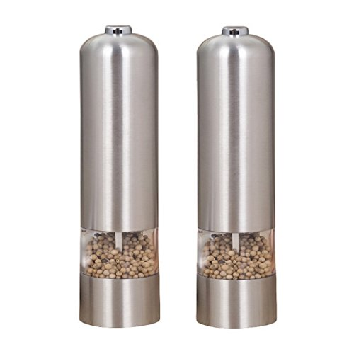 Set of 2 Battery-Operated Stainless Steel Electric Pepper Grinder Or Himalayan Sea Salts Easy For Filling in Seasoning With Light And Adjustable Ceramic Grinder For Tableware; Counter; Kitchen