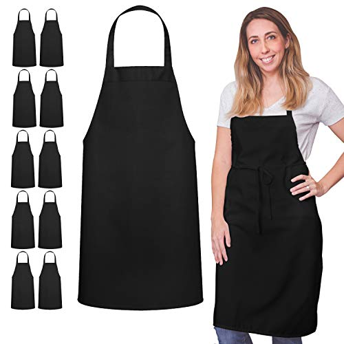 12 Pack Bib Apron - Unisex Black Apron Bulk Machine Washable for Kitchen Crafting BBQ Drawing Outdoors By Green Lifestyle (Pack of 12, Black)