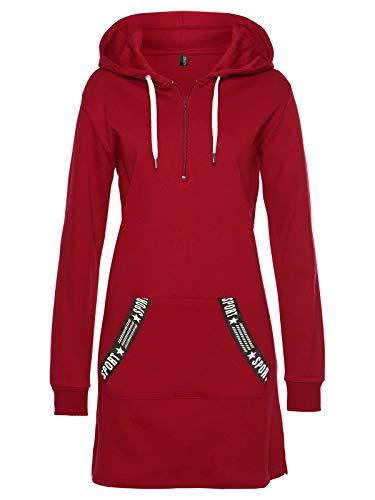 TrendiMax Damen Hoodie Kleid Herbst Langarm Sweatshirts Kapuzenpullover Streetwear Jumper Pullover Mini Kleider, Rot, S