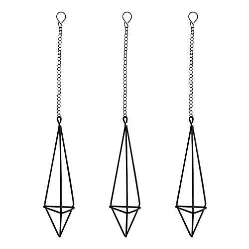 Nydotd Himmeli Hängepflanzenhalter für Tillandsien-Luftpflanzen (mit Ketten), rustikaler Stil, freistehend, geometrisches Metall, Tillandsien-Design, Schwarz, dreieckig, 3 Stück