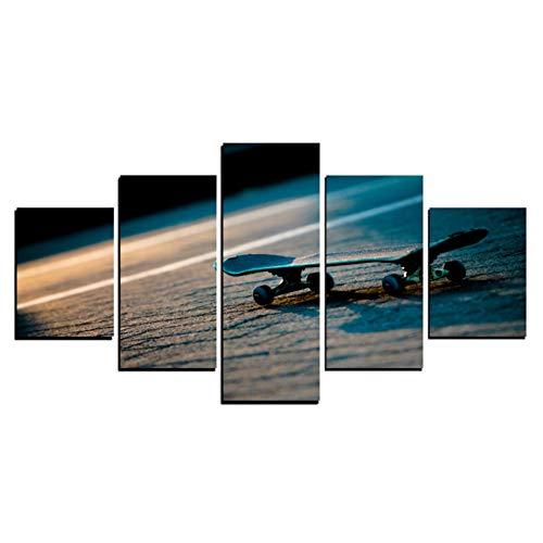 RKSZD 5 Leinwandbilder Home Wohnzimmer Hd Gedruckt Moderne 5 Panel Skate Modulare Dekoration Poster Bild Auf Leinwand Wandkunstwerk Malerei