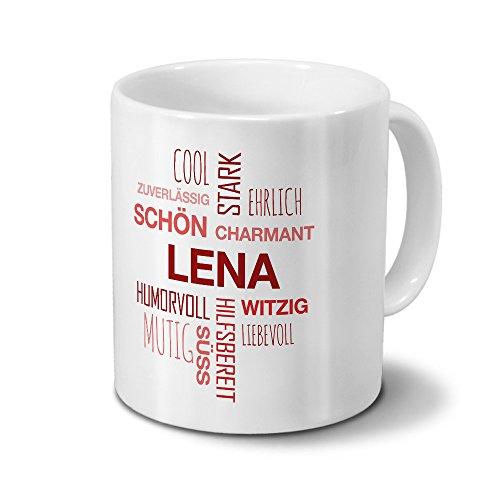 printplanet Tasse mit Namen Lena Positive Eigenschaften Tagcloud - Rot - Namenstasse, Kaffeebecher, Mug, Becher, Kaffeetasse