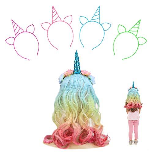 JOOPOM Diadema de Unicornio con Pelo Niña y 4 piezas Diademas de Unicornio de Plástico Disfraz de Unicornio para Niña Artículos de Cumpleaños Cosplay Carnaval