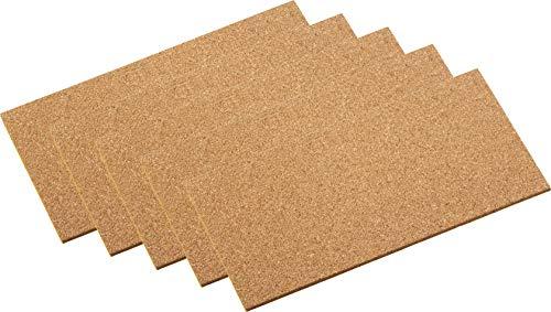 Metafranc Kork-Pads 100 x 200 mm - selbstklebend - 5 Stück - Stoßdämpfend & Vibrationshemmend - Als Pinnwand & Modellbau-Unterlage - Einfache Zuschnitte / Korkplatte zum Basteln / Klebekork / 646106
