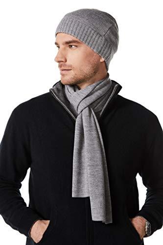 EURKEA 100% Australian Merino Wool Winter Scarf for Men, Soft and Cozy, Medium Grey
