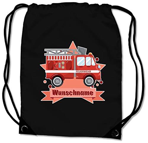 Samunshi® Turnbeutel mit Feuerwehr-Auto und Name für Jungen und Mädchen personalisierbar personalisiert mit Namen Sportbeutel für Schule Sport Sporttasche schwarz