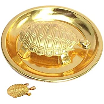 Metal Turtle on Plate Feng Shui Vastu Tortoise Puja Yantra Good Luck Brass Vaastu/Fengshui Tortoise/Turtle for with Plate-Brass,Standard, Golden Size 4-Inch Best Gift Career