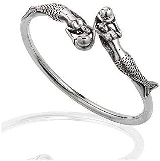 925 Sterling Silver Swimming Twin Ocean Mermaid Cuff Wrap Around Bracelet
