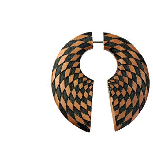 CHICNET Pendiente falso de 1 mm, círculo de agujero de llave, 45 mm, madera de sawo, marrón oscuro, remolino, remolino, remolino, caracol grabado, espiral, dilatación, tribal, joya unisex