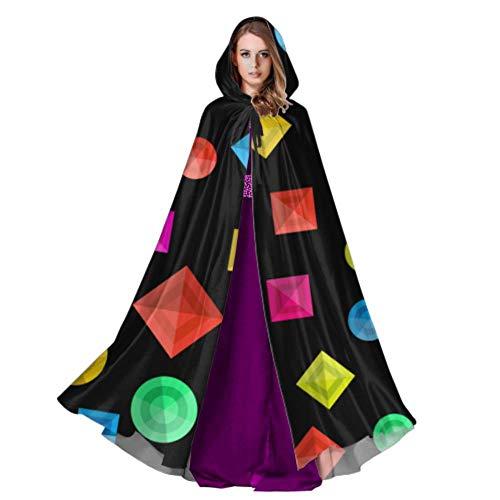 LONGYUU Futuristische Prisma Zylinder Quader Cape Mantel Kleid Casual Kapuzenmantel 59 Zoll Für Weihnachten Halloween Cosplay Kostüme