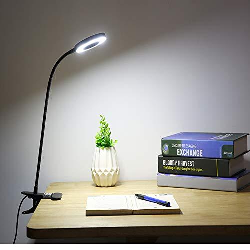Lámpara Escritorio LED, lámpara de lectura con clip LED, lámpara de estudio, Lámpara Lupa Iluminadora de Lectura USB Con Clip Maquillaje Portátil Tatuaje Clip Lámpara Cuidado de la Piel Belleza Uñas