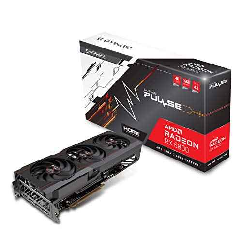 Sapphire 11305-02-20G Pulse AMD Radeon RX 6800 PCIe 4.0 Gaming Graphics Card with 16GB GDDR6