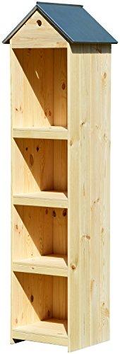dobar Hoher Gartenschrank aus Holz, Garten-Gerätehaus, natur, 46 x 44 x 175 cm, 56000e