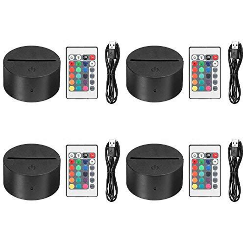 EEEKit 4 Pack 3D Night LED Light Lamp Base + Remote control + USB Cable Adjustable 7 Colors Decoration de la maison Decorative lights for bedroom child room living room bar shop cafe restaurant office
