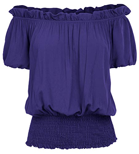 Womens Peasant Blouse Renaissance Smocked Waist Boho Tops T Shirts S Royal Blue