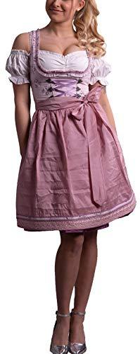 Golden Trachten-Kleid Dirndl Damen 3 TLG, Midi für Oktoberfest, mit Schürze und Bluse,Pastelviolett 531GT (34)
