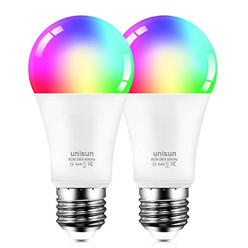Smart LED Bulb E27, kan Sprachsteuerung Glühbirne mit Timing-Funktion, 2700K warmweißes Licht mit 16 Millionen mehreren Farben Lampen, kompatibel Alexa Google, geeignet für Heim und Feld(2er Pack)