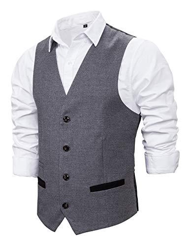 STTLZMC Chaleco Hombre Sin Mangas Retro Tweed Vestir Británica Chalecos Cuello en V De Slim fit Traje,Gris,S