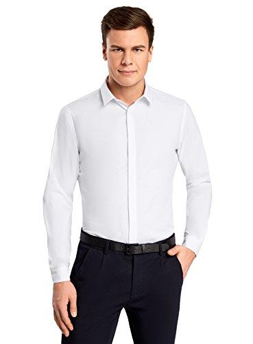oodji Ultra Herren Hemd Slim Fit aus Strukturiertem Stoff, Weiß, 43