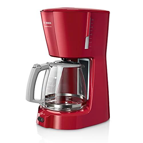 Bosch Hogar TKA3A034 Cafetera de goteo, capacidad para 10 tazas, 1,25 litros, color Rojo, 1100 W, Cups, plástico