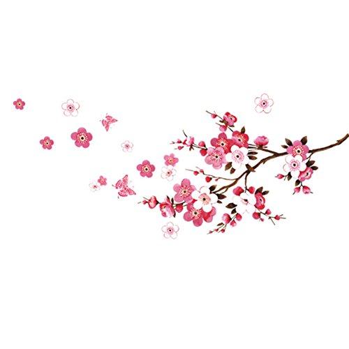 Naisicatar de Gran tamaño de la Mariposa de la Flor de Cerezo Flor de la Rama de árbol Etiqueta engomada desprendible de Etiquetas de la Pared de la decoración Mural del hogar Pegatinas -
