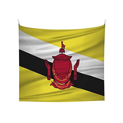 Brunei Darussalam-Flagge, Wandbehang, Tarot-Tarot, Boho, beliebte mystische Trippy-Yoga-Hippie-Wandteppiche für Wohnzimmer, Schlafzimmer, Wohnheim, Heimdekoration, schwarz & weiß Stranddecke