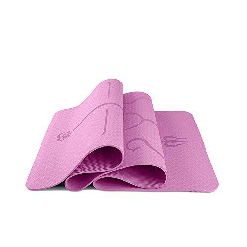 FANXQ Yoga-Matte, TPE Zwei-Farben-Yoga-Matten Body Line verdickte 8Mm Verbreiterte 61/80 cm Umweltschutz Anti-Rutsch-Matte,Rosa