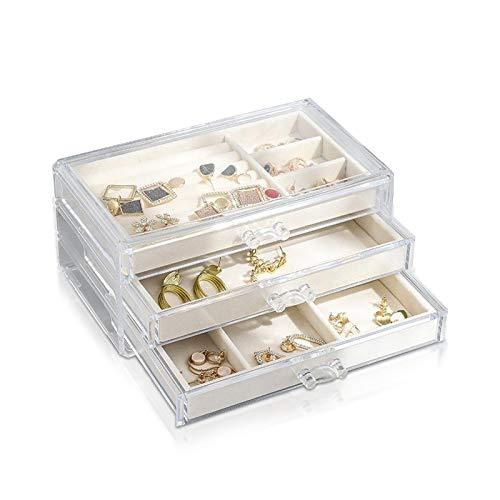 PROJEWE Joyero Caja de Almacenamiento de Joyas Puesto de Joyería Caja de Plástico de Joyería Claro Transparente Titular de Pendiente Organizador de Joyas para Anillos Pendientes Collar Pulseras