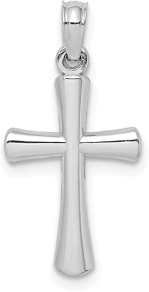 Solid 10K White Gold Beveled Cross Round Tips Charm Pendant