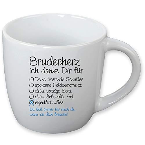 Tasse Schwesterherz - Bruderherz als liebevolles Mitbringsel - Geschenk für Schwester - Geschenk für Bruder Farbe Bruderherz