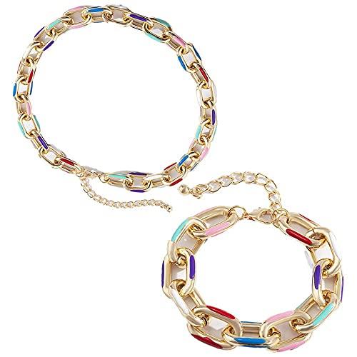 2 piezas moda punk multicolor aluminio cadena corta gargantilla collar collar impreso cuello pulseras metal par pulseras hip hop cadenas