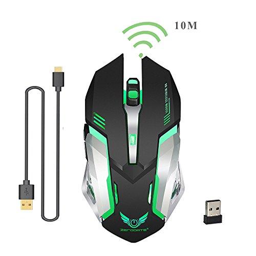 Kabellose Gaming-Maus 2,4GHz mit USB Nano Empfänger,7-Farbiger Beleuchtung, Wiederaufladbar (600 mAh Akku)