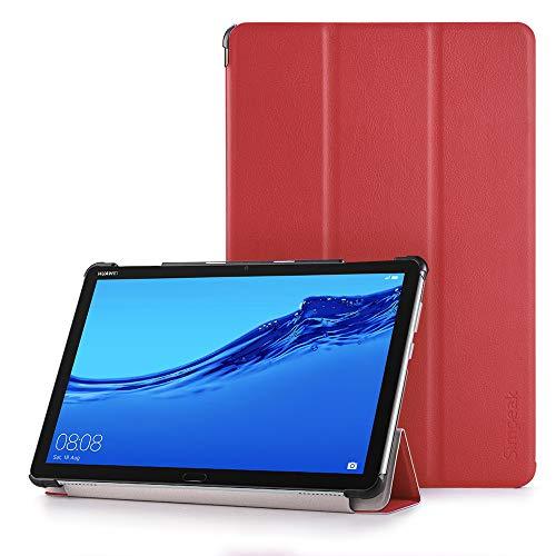 Simpeak Funda Compatible con Huawei Mediapad M5 Lite 10, Funda Compatible con Huawei Mediapad M5 Lite 10 Multi-Angulo Cubierta Folio con el Soporte Reposo Despertador Slim Smart PU Plegable Case,Rojo