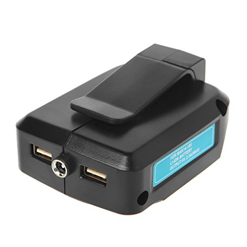 Conversor adaptador de carregamento USB, adaptador de fonte de alimentação para bateria de íon de lítio MAKITA ADP05 14-18V (preto)