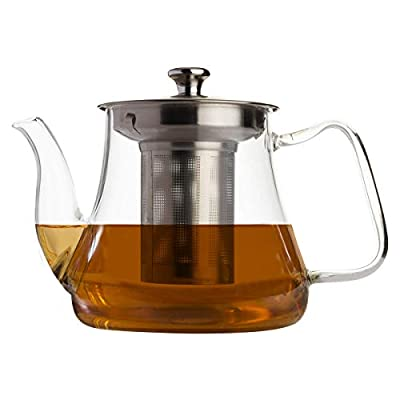 VAHDAM, Radiance- Glass Tea Pot with Infuser | 33oz/1000ml Tea pots for Loose Tea | Perfect Tea Maker | Tea Pots for Stove top | Scratch Resistant, Microwave Safe Tea Steeper | Glass Teapot