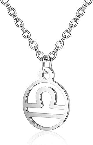 Aluyouqi Co.,ltd Collar Collar Collar 12 Constelación Estrella Declaración Collar Mujer Acero Joyería Zodíaco Leo Cáncer Bebé Mujeres Collares Regalo