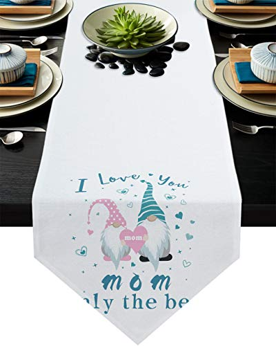 Mother's Day Gnomes Table Runner Dresser Scarves,Linen Burlap Tablecloths for Dining, Farmhouse Kitchen Bedroom Coffee/End Table, Home Decoration I Love You Mom Only The Best 13x108in