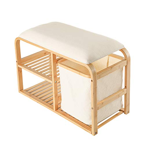 Lumaland Schuhregal aus Bambus mit Sitzbank + 2 Ebenen + 1 Korb - 69,5x30x45 cm Beige