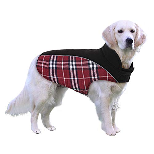 MAZORT Dog Coat, Dog Winter Jacket for Small Medium Large Dogs, Reversible Dog Fleece Coat, Plaid Dog Waterproof Jacket with Reflective Trims for Cold Winter, Red, XL