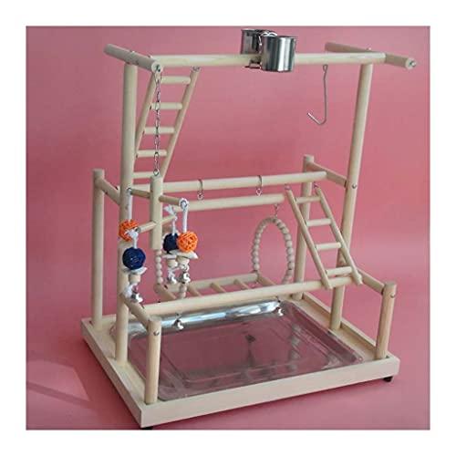 Juguetes para pájaros Pájaro patio de patio loro perca stand toys 47x32x55cm pájaros madera juego gimnasio centro de actividad ejercicio parque playpen escalera puente madera escalera escaleras con ta