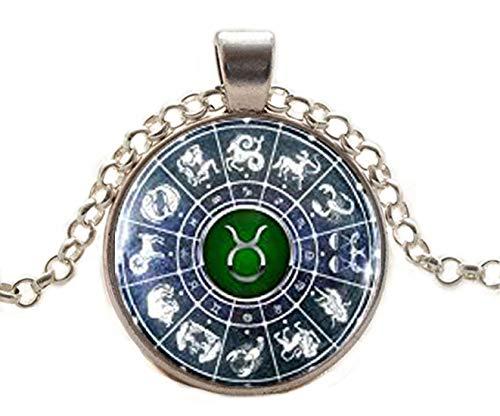 Collar con colgante de signo del zodiaco Taurus, colgante de globo terráqueo de cristal, regalo de cumpleaños, signos del zodiaco