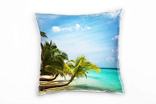 Paul Sinus Art Strand en zee, turquoise, beige, groen, Tropisch eiland decoratief kussen 40x40cm voor bank bank bank lounge sierkussen - decoratie om je goed te voelen